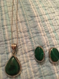 Malachite Sterling Silver 925 Pendant and Earring Vintage Set Virginia Beach, 23455