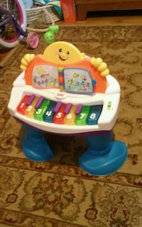 White and blue fisher-price music play piano  Hopkinton, 01748
