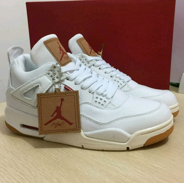 332ec42d41f4 Air Jordan Retro 4 Levis White