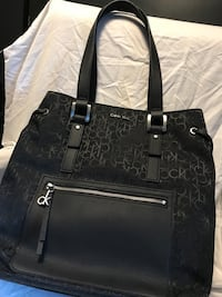 Black monogrammed  leather tote bag Toronto, M2R 2E3