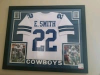 white and blue E. Smith 22 jersey shirt Dallas Cowboys memorabilia
