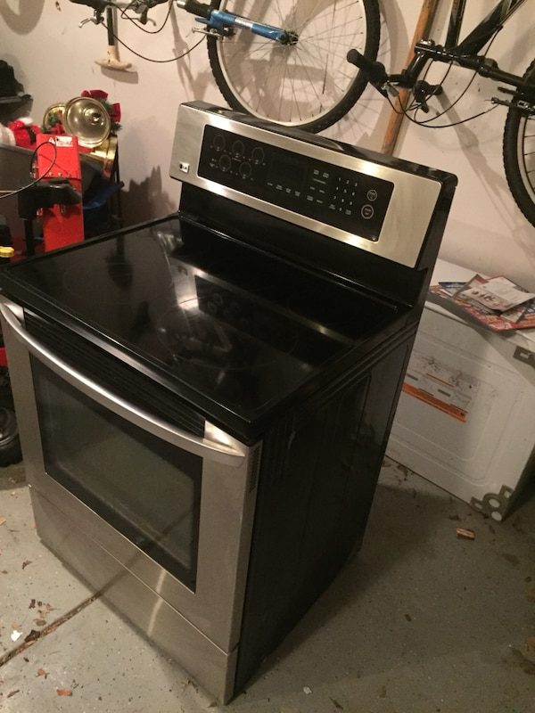 black and silver induction range oven