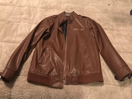 Brown Faux Leather Jacket- Small.
