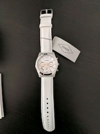 round silver-colored chronograph watch with white leather strap San Jose, 95134