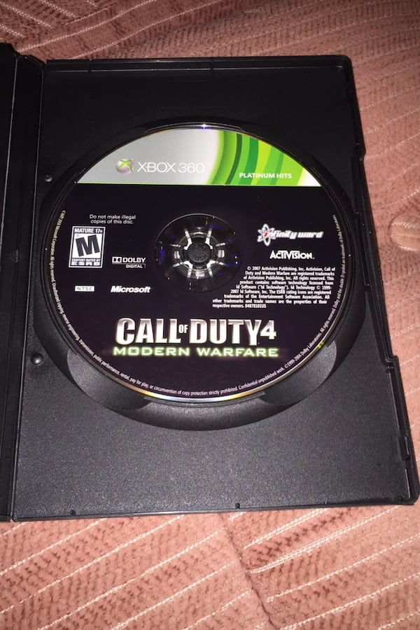 Call of duty 4 modern warfare .  (I will trade for xbox one game 1