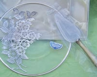 "Vintage 2 Piece STERLING ON CRYSTAL Cheese Plate with Server by Silver City Glass Co. ""Springtime"" Pattern Martinsburg, 25401"