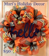 "Orange/Blue ""Hello"" wreath College Station, 77840"