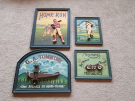 4 WOODEN PICTURES IN PERFECT CONDITION!