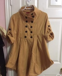 women's brown double-breasted dress