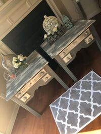 2 side table , you can use for night stand, they are solid wood . Modern Colore White and Gray  230 mi