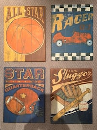 Set of 4 wooden sports pictures Vaughan, L4J 0E5