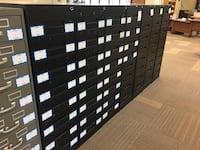 Black and Assorted Library Card File Cabinets (Qty 39)