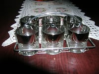 6 Drink Glasses in their Chrome Carrier Springfield