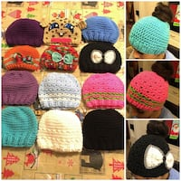 Messy bun crochet hats  any size  price start $12  and up it depends on size and styles  Fayetteville, 28311