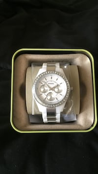 "Round silver michael kors ""Fossil"" chronograph watch with link bracelet Raleigh, 27616"