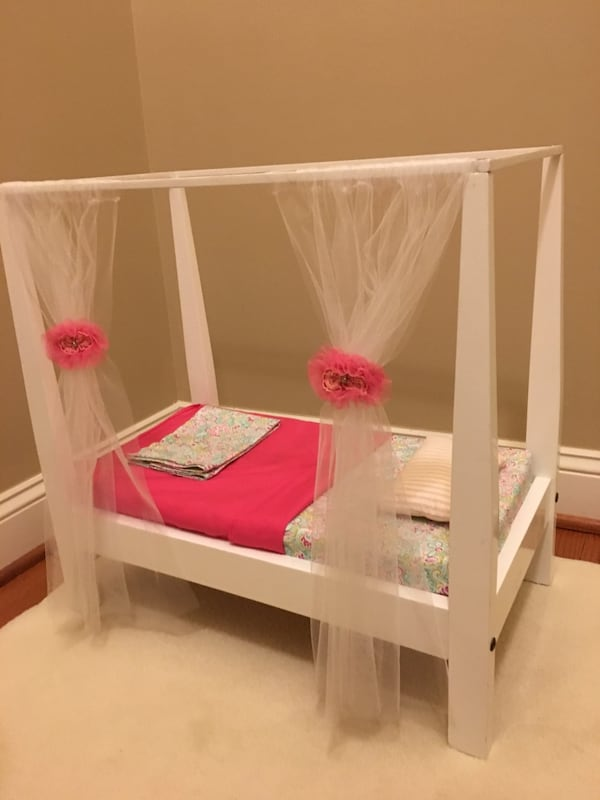 Doll bed with canopy fits American Girl doll a3c07a84-27fa-4a23-b847-07810d630ab8