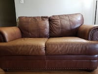 Brown leather 3 seater, 2 seater & 1 chair CENTREVILLE