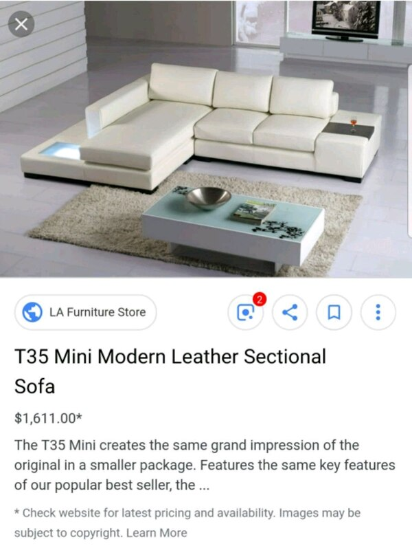 Used T35 Modern White Leather Sectional Sofa With Light For Sale In