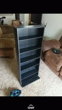 black and gray wooden shelf