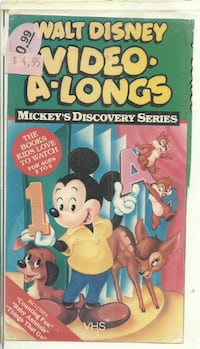 Walt Disney Video-A-Longs - Mickey's Discovery Series VHS The Books Kids Love  original box cut and mounted on a clamshell case  previous rental Newmarket