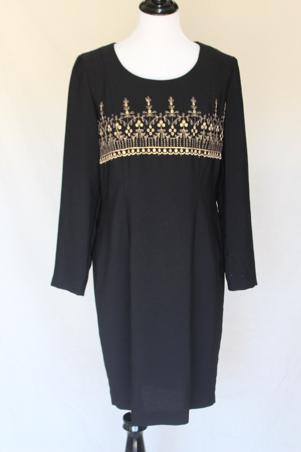 1980s Lady Carol Petites Black Crown Dress