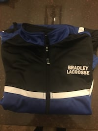 Blue and white bradley lacrosse zip-up jacket