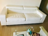 Beautiful elegant leather couch with matching leather bar chairs Los Angeles