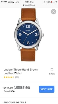 round silver-colored analog watch with brown leather strap Calgary, T2W 0J7