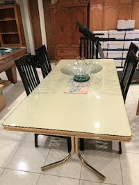 White dining table with glass protector Toronto