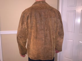 Men's XL stylish brown leather suede jacket