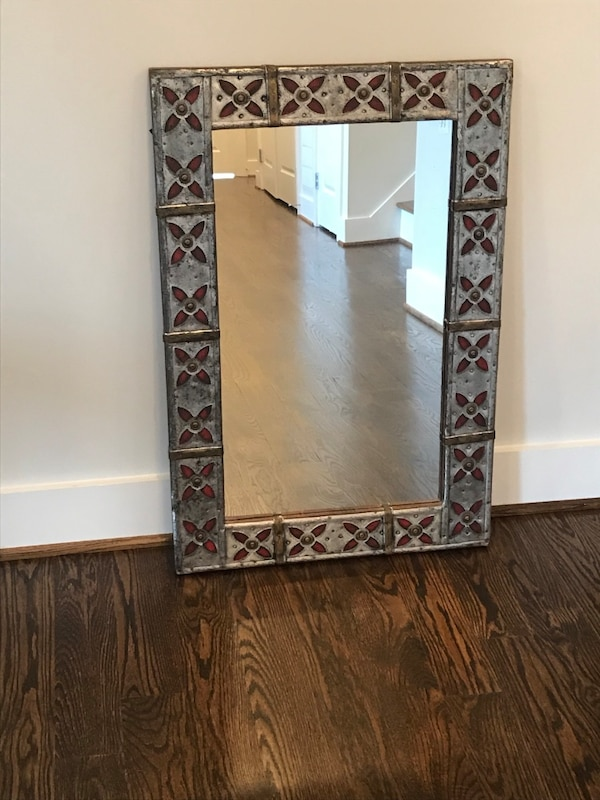 Silver Brass and Red Inlay Mirror