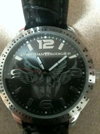 round silver-colored Christian Audigier analog watch with black leather strap Albuquerque, 87102