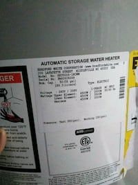 white and black automatic storage water heater sticker