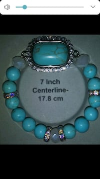 teal and silver beaded bracelet Chino, 91710