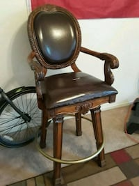 brown wooden framed brown leather padded armchair Merced, 95348
