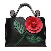 VANILLA CHOCOLATE 3D ROSE FLOWER BLACK TOTE