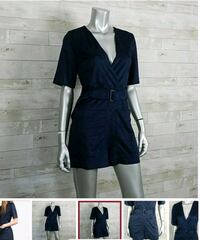 WOMEN'S ZARA BLUE SUEDE BELTED SHORT JUMPSUIT XS Toronto