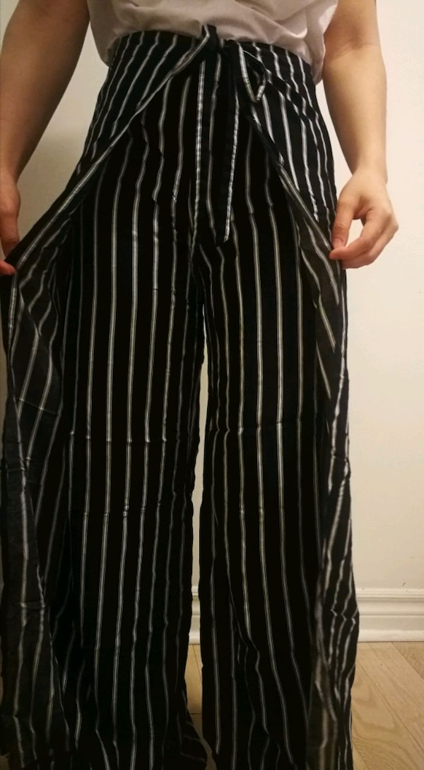 Striped pants with tie-up side panels d7cfaf37-4752-4c00-b83e-42ac55a5e31b