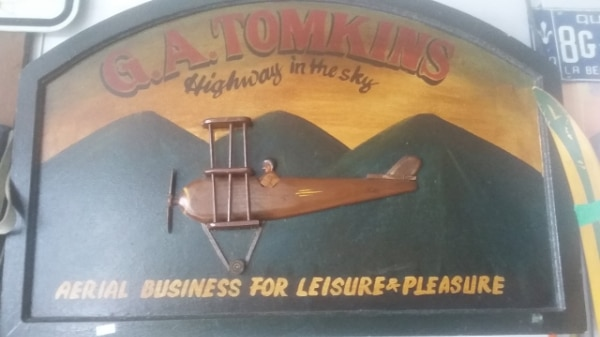 G.A TOMKINS - Highway in the sky Wooden Sign.