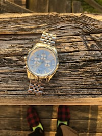 Round gold-colored analog watch with link bracelet Upper Marlboro, 20774