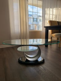 Glass coffee table with metal/black marble base Aurora, 60502