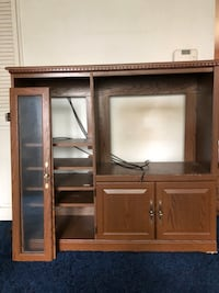 brown wooden TV hutch with flat screen television Silver Spring, 20902