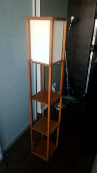 Wood floor lamp with shelves
