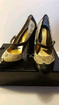 New zinc brand black and off-white lace high heels 56 mi