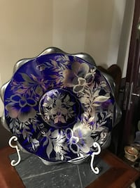 Extremely rare 1920s COBALT BLUE GLASS PLATTER WITH ETCHED  SILVER FLOWER OVERLAY 13x13 Baldwin, 11510