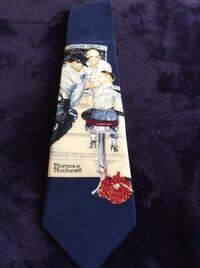 Norman Rockwell tie, older wide style 100% silk.   Mississauga, L5N 6W5
