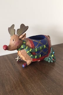 Reindeer Christmas tea light candle holder