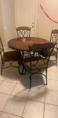 5 Piece Dining Set - iron lace chairs abd tables legs. cushioned chairs. Wylie, 75098