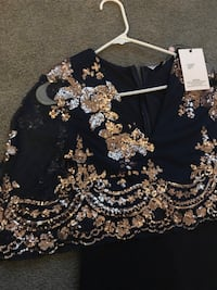 Navy and rose gold dress 48 km