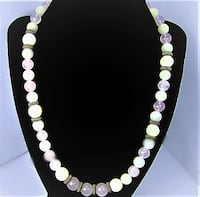 1930'S VINTAGE MOTHER OF PEARL, WHITE MOON GLOW AND PINK QUARTZ NECKLACE Manchester